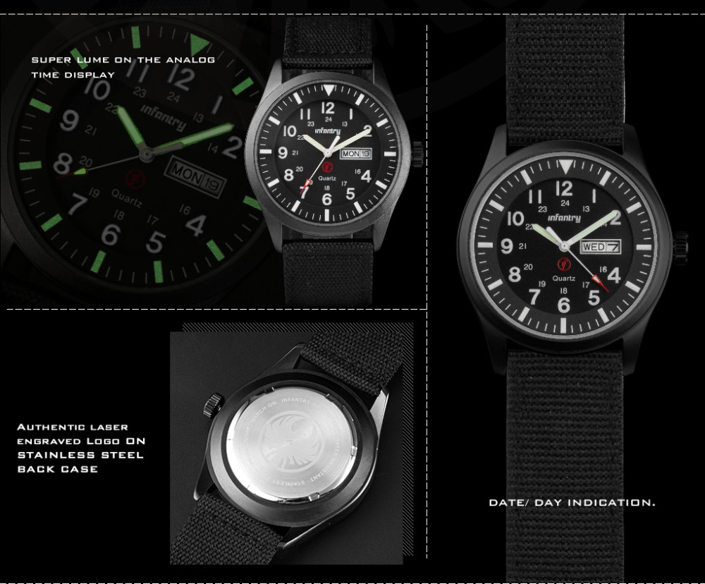INFANTRY Mens Watches Relojes Hombre Luminous Watches 2017 New Date Day Police Black G10 Nylon Fabric Strap Quartz Watches