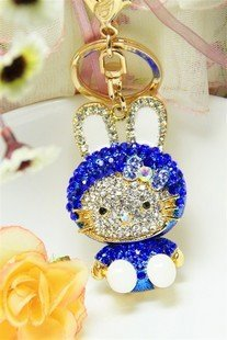 wholesale keychain/fashion keychain/2010 fashio Blue KITTY cat key Chain free shipping  Wholesale 20pc/lot no 5