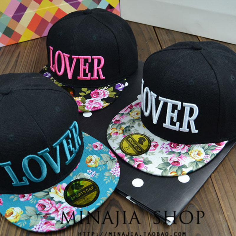2014 New Korean Cute Floral Brim Design LOVER Baseball Cap For Women Snapback Hip Hop Hats Rose And Blue For Choose(China (Mainland))