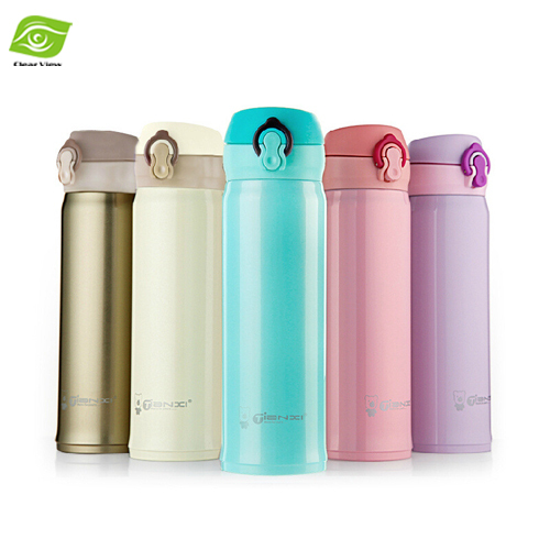 1PC Candy Color Stainless Steel Bear Thermos Bottle Vacuum Cup 450ML Outdoors Travel Mug Vacuum Flask(China (Mainland))