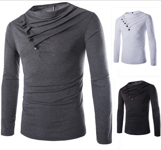 Men T Shirt Fashion 2015 Cotton Blends Solid Turtleneck