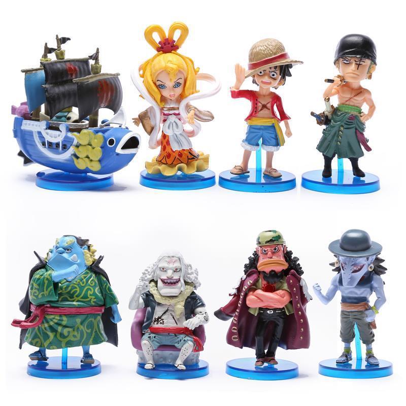 Anime One Piece Toys The fish men island Luffy Zoro Jinbe Hordy Jones PVC Figures 8cm 8pcs/set OPFG416(China (Mainland))