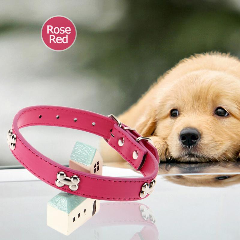 Free Shipping New Arrival Practical 33-40CM Adjustable Length PU Dog Collar Pet Walking Tool Rose Red Gogs Basic Collars(China (Mainland))
