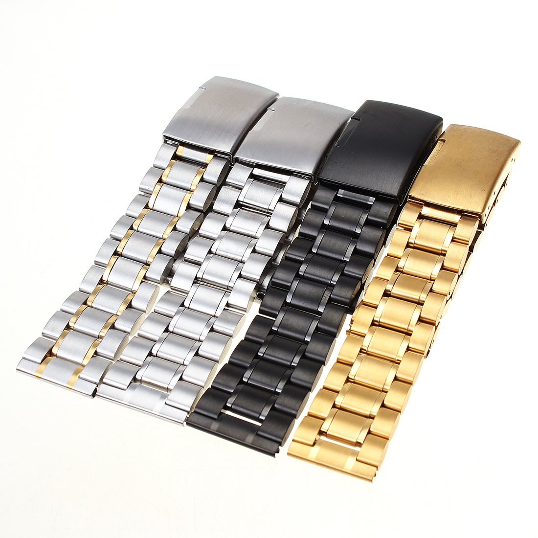 Гаджет  2015 New Fashion 18-22 mm Stainless Steel Solid Link Watch Band Strap Bracelet Straight End Black Gold White Silver Promotion None Часы