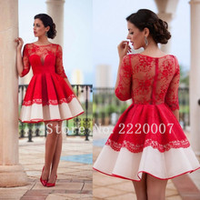 Custom Made Elegant Scalloped Cocktail Dresses With Knee Length Lace Half Sleeve Applique A Line Zipper Cocktail Dress(China (Mainland))