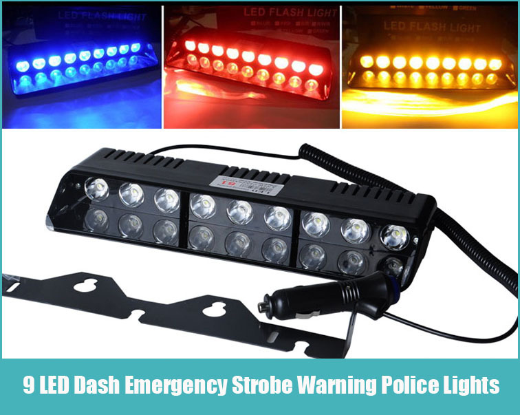 Free Shipping 10W high power 9 LEDS Signal Light Car Truck Emergency Strobe police warning Flash Light RED BLUE AMBER WHITE(China (Mainland))