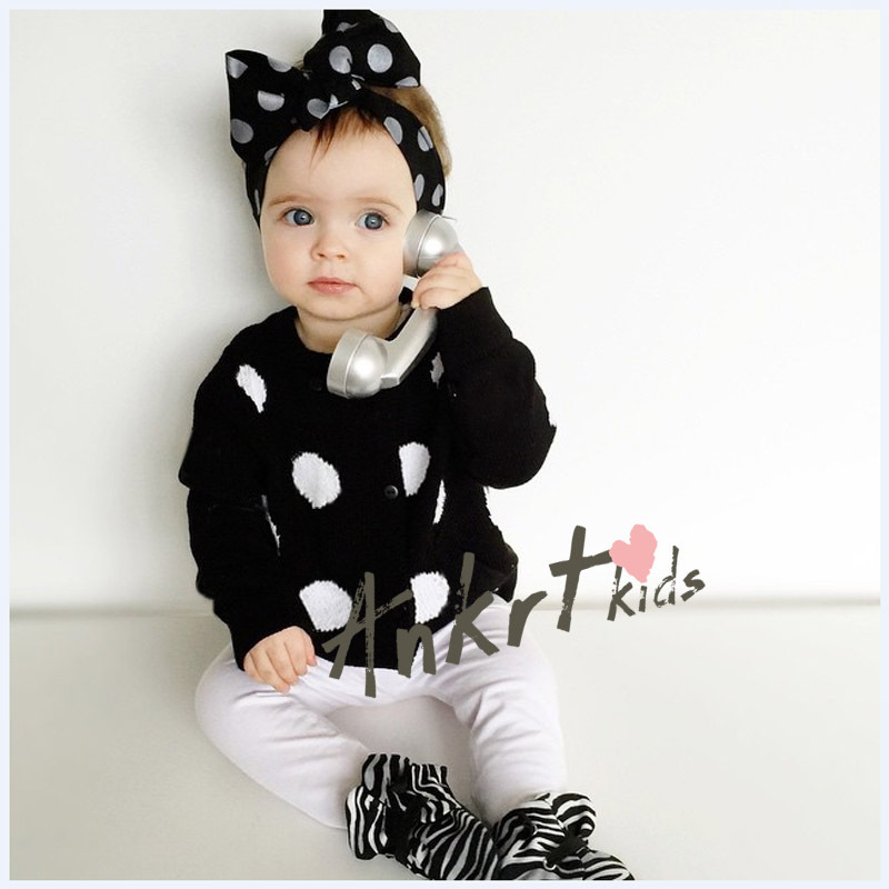 Girls Baby Childrens Lace Sweater 2016 New Autumn Winter Bow Cardigan Fashion Long Sleeve Dot Coat Outerwear ZZ-895