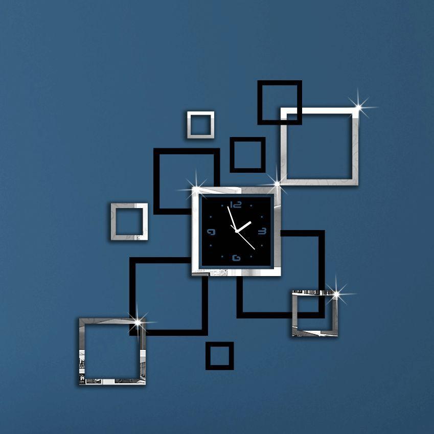 Album Silver & Black 3D DIY Mirror Wall Clock Modern Design Relojes De Pared Watch Wall  clocks Unique Gift ! Free Shipping.(China (Mainland))