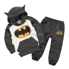 2Color Boys & Girls Children Hoodies & Sweatshirts Kids Boys Clothing Set Cartoon Batman Casual 100% Cotton Hoddies Sweatshirts(China (Mainland))