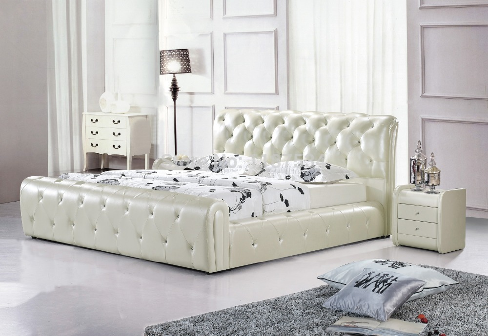 A1036 a large king size leather soft bed bedroom for High quality bedroom furniture