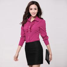 New Plus Size Professional Office Women's Long-sleeve Blouse Girls Formal Turn-down collar Work Wear Office Lady Shirt 855