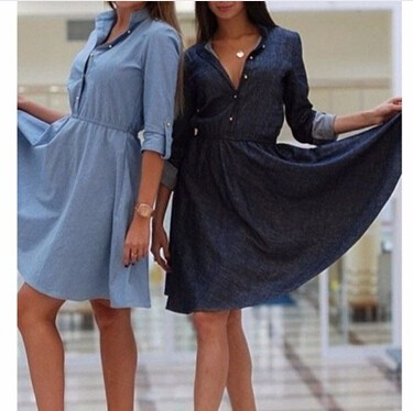 Summer-Style-2015-new-fashion-women-denim-dresses-V-neck-half-sleeve-dress-denim-dress-shirts
