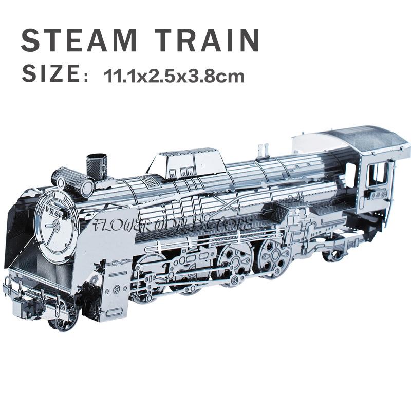 New creative Railway engine 3D puzzles 3D metal model DIY Steam locomotive Jigsaws Adult/Children gifts toys Retro Train(China (Mainland))