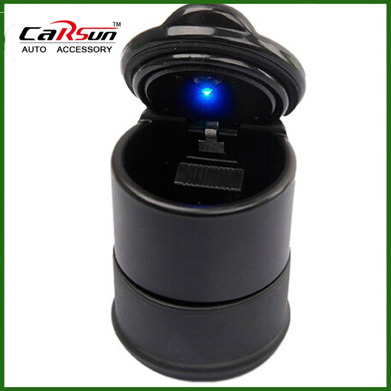 95*70MM With LED Blue Light Portable Car Auto LED Light Smokeless Ashtray Cigarette Holder(China (Mainland))