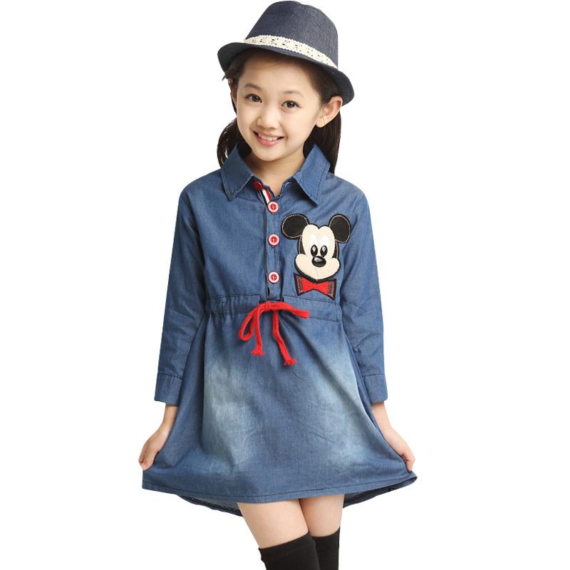 NEW Kids Girl Dress fashion Lovely Denim Blue girl dress long sleeve kid winter dress girls apparel(China (Mainland))