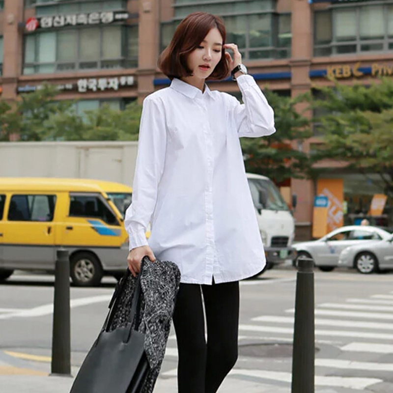 2015 New Spring Fashion Women Full Sleeve White Casual Loose Long Blouse Tops Ladies Blusas Camisetas Mujer CL1787  -  QIQI YUAN's store store