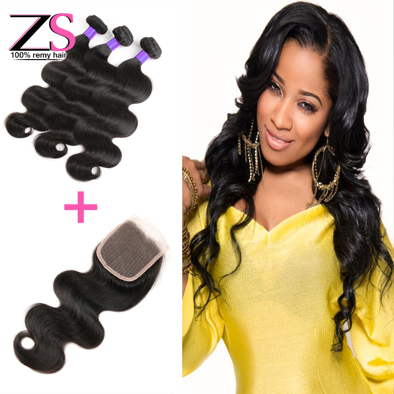 Фотография 8A Brazilian Virgin Hair 3 Bundles With Closure 10-30 Inch mink Brazilian hair  human hair extensions  Human Hair Weave Wavy