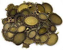 100Gram Mix Designs Antique Bronze & Antique Silver Zinc Alloy Pendant Blank Cameo Cabochon Base Setting Jewelry Accessories(China)