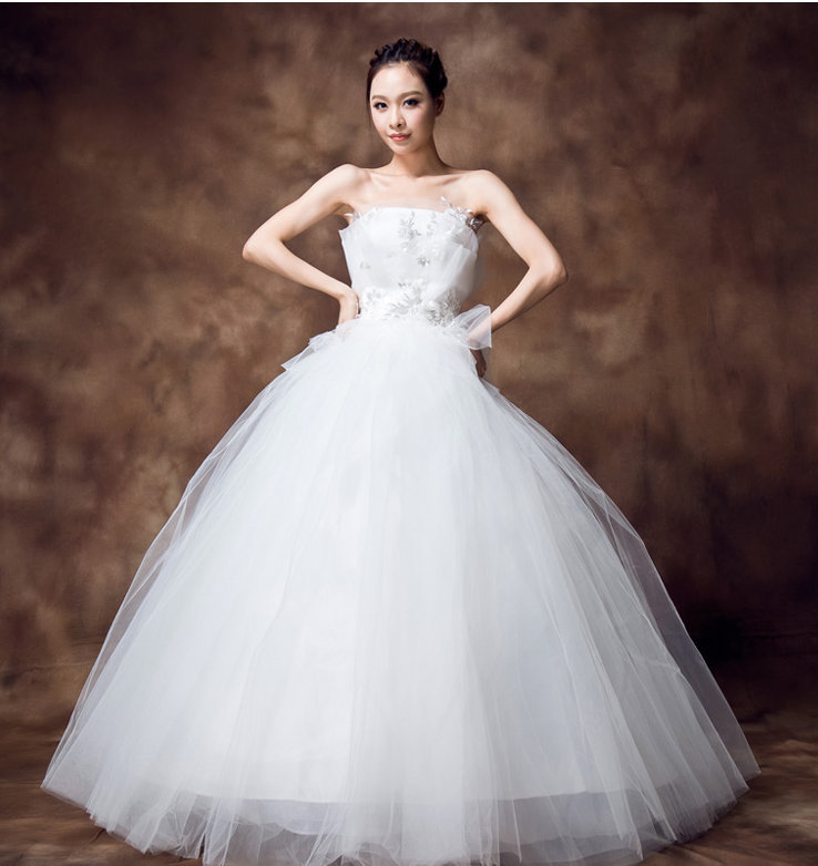 elegant 2014 tube top bandage bridal maternity wedding dress in wedding dresses from weddings. Black Bedroom Furniture Sets. Home Design Ideas