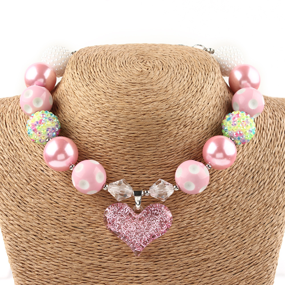 Princess Chunky Necklace kids pink Heart Pendant Chunky Bubblegum Necklace Valentine's Day Girls Jewelry 60pcs/lot(China (Mainland))