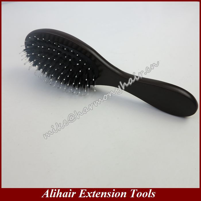 Free Shipping!!! 10pcs Dark Brown Black Cushion Hair Accessory and Tools Wooden Hair Brushes Boar Bristles Comb for Human Hair(China (Mainland))