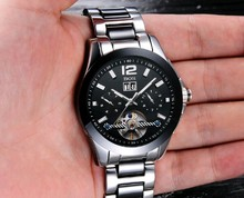 Multi Function Automatic Mechanical watches men luxury brand BOS Stainless Steel black dial Calendar Steel Ceramic