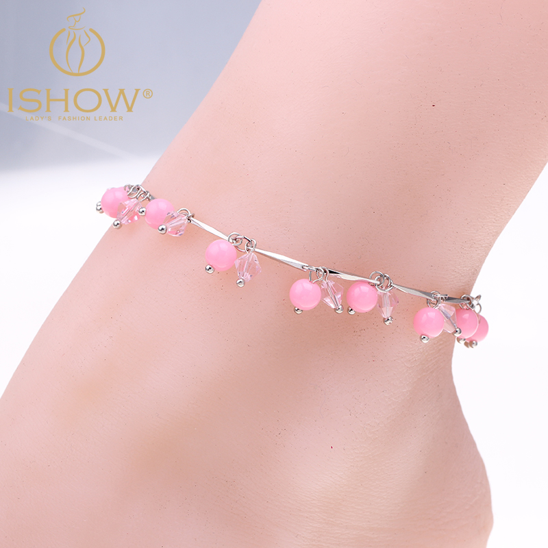 New glass beads anklets jewelry gold and silver plated ankle chain foot jewelry pulsera tobillo hot Pentagon anklets for women(China (Mainland))