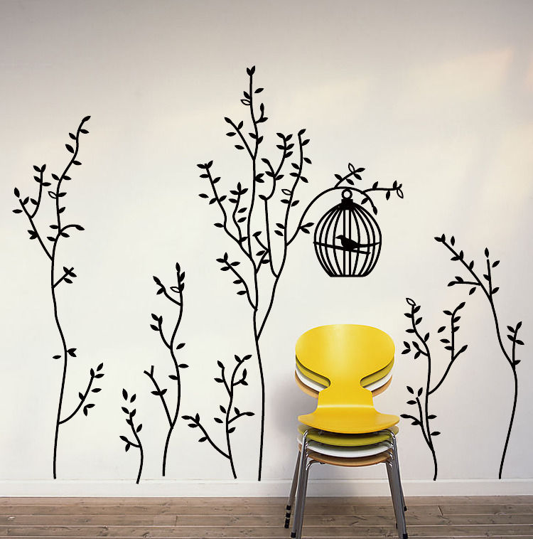 Bird Cage Tree Vines Mural Sticker Removable Art Vinyl Wall Decals Home Decor(China (Mainland))