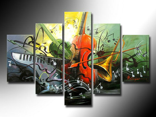 5 panel canvas art, abstract art instrument theme home decor large oil painting, high-quality wall art(China (Mainland))