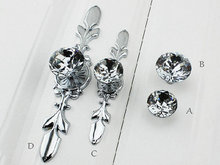 Glass Dresser Knob Crystal Drawer Knobs Pulls Handle Silver Chrome Clear Rhinestone  Cabinet Door Handle Back Plate Bling Blings()