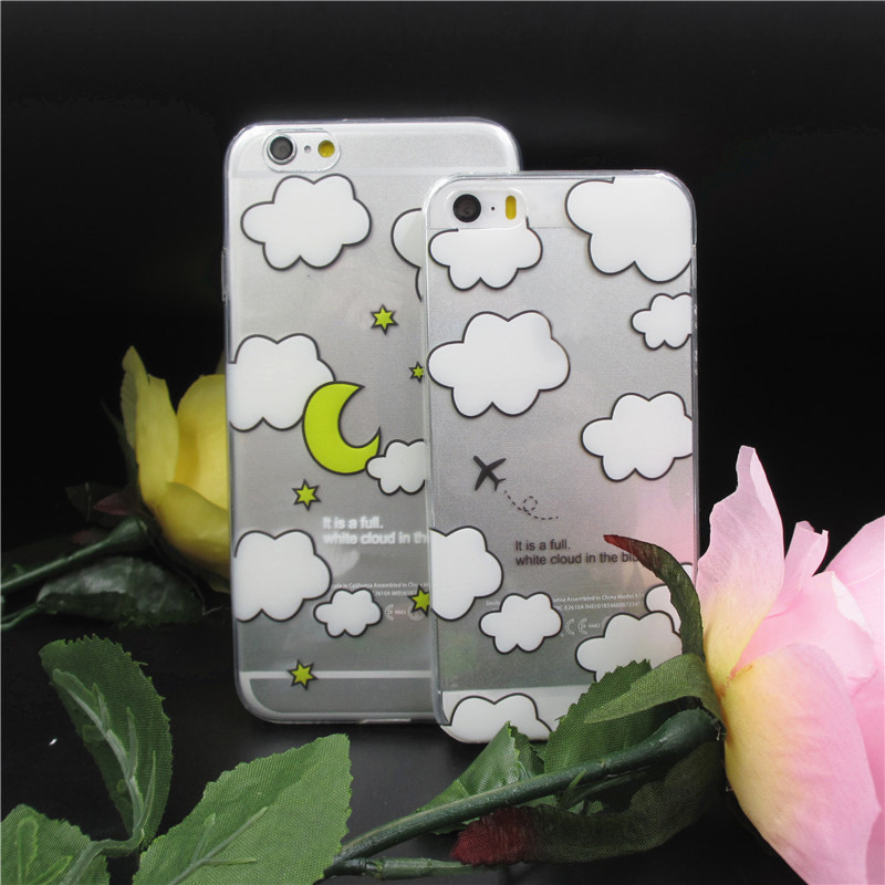 NEW White clouds /Moon /plane Pattern Transparent soft Case Cover for iphone 5 5G 5s phone shell CSJK0016(China (Mainland))