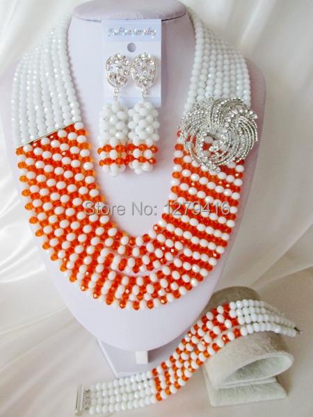 Fashion Nigerian African Wedding Beads Jewelry Set , Crystal Necklace Bracelet Earrings SetC1834<br><br>Aliexpress