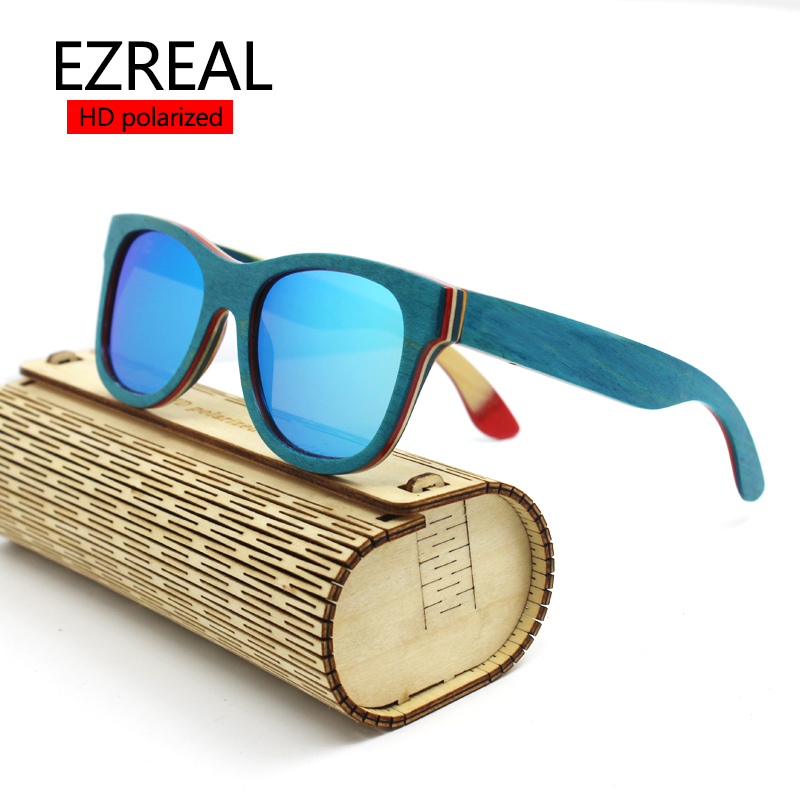 2016 TOP Brand Designer men wood Sunglasses New Polarized Blue Skateboard Wood sunGlasses Original Box Retro Vintage Eyewear(China (Mainland))