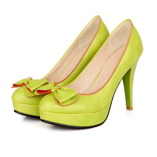 Free shipping Women pumps round waterproof Taiwan fine with high heels sweet bow fashion custom size 30-48HQW-0043(China (Mainland))