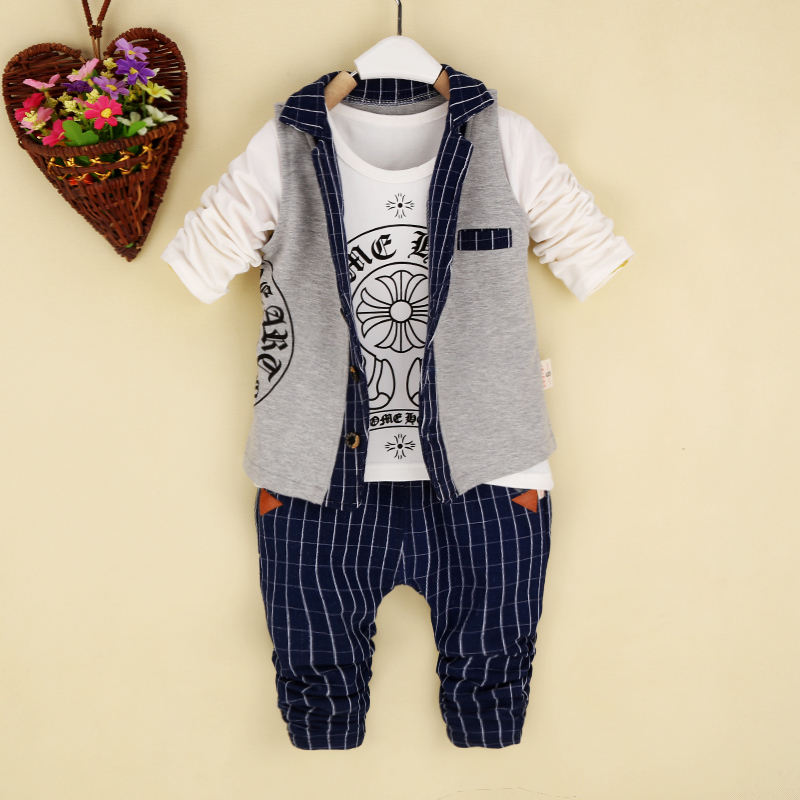 2015 New Product Autumn Children Suit Boy Girl Baby 3 pc Set Quality Exercise Fashion Free Shipping(China (Mainland))