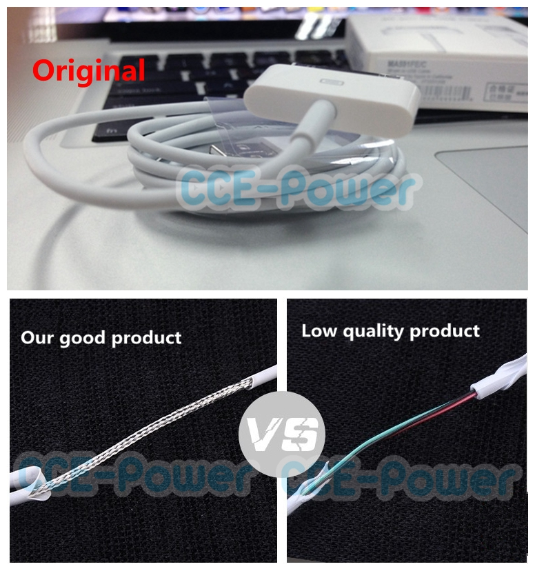 1:1 Original 30 pin USB Mobile phone data Sync Cable charger white fit for iphone 4 4S for ipod touch/nano for ipad(China (Mainland))