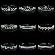 Wholesale Bridal Wedding Pearl Rhinestone Crown Heart Crown Pageant Silver Plated Women Children Tiaras Headband Accessories(China (Mainland))