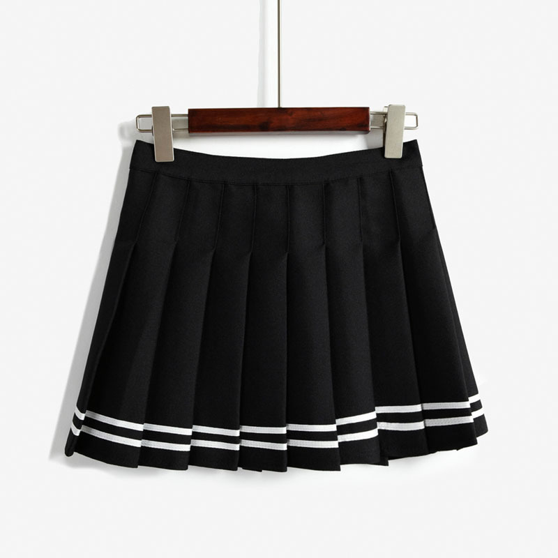 2015 summer style striped pleated mini skirts womens