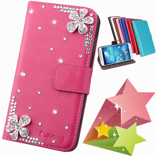 luxury Flower Floral PU leather Phone Bags & Cases For samsung galaxy S4 S IV i9500 Mobile Accessorie Crystal Flip Cover holster(China (Mainland))