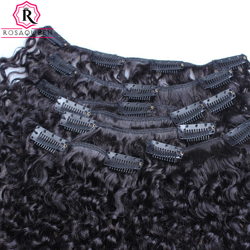 Kinky Curly Clip In Human Hair Extensions 3B 3C African American Clip In Human Hair Extensions 7Pcs Natural Kinky Curly Clip Ins