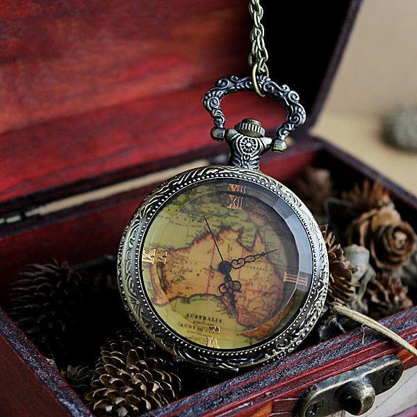 2015 Hot Sale Vintage Antique Style Quartz Pocket Watch Flower Back Map Shape Pocket Watch Saat