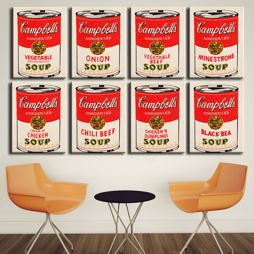 2016 free shipping Canvas for Living Modern Andy Warhol Campbell's Soup Home Decoration Modern Painting printed oil painting(China (Mainland))