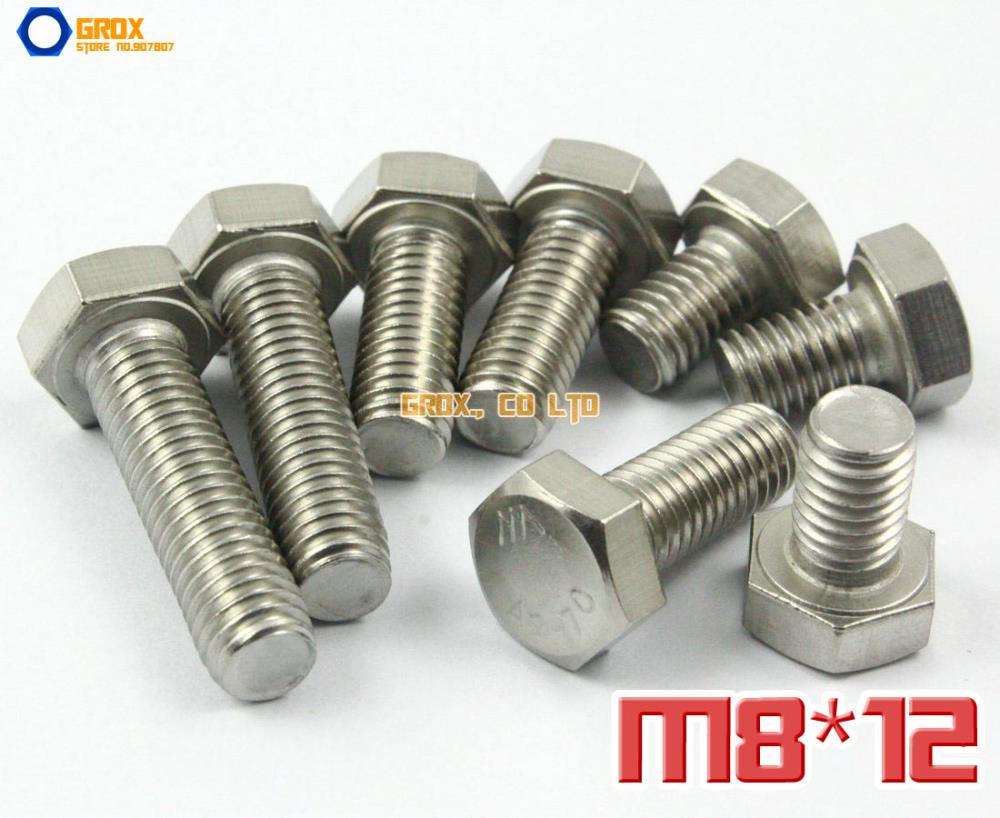 20 Pieces M8 x 12mm 304 Stainless Steel Hexagon Head Set Screw Fully Threaded Bolt<br><br>Aliexpress