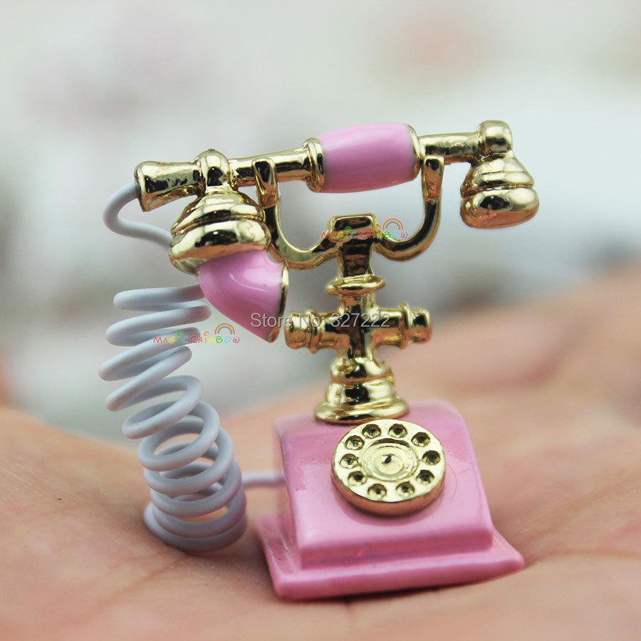 Mini Antique Rotary Telephone Old Period Phone Metal Pink Dollhouse Miniature 1:12(China (Mainland))
