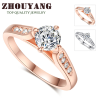 Top Quality ZYR065 Classic 18K Rose Gold & White Plated 1ct 6mm CZ Diamond  Wedding Ring Austrian Crystals Wholesale For women