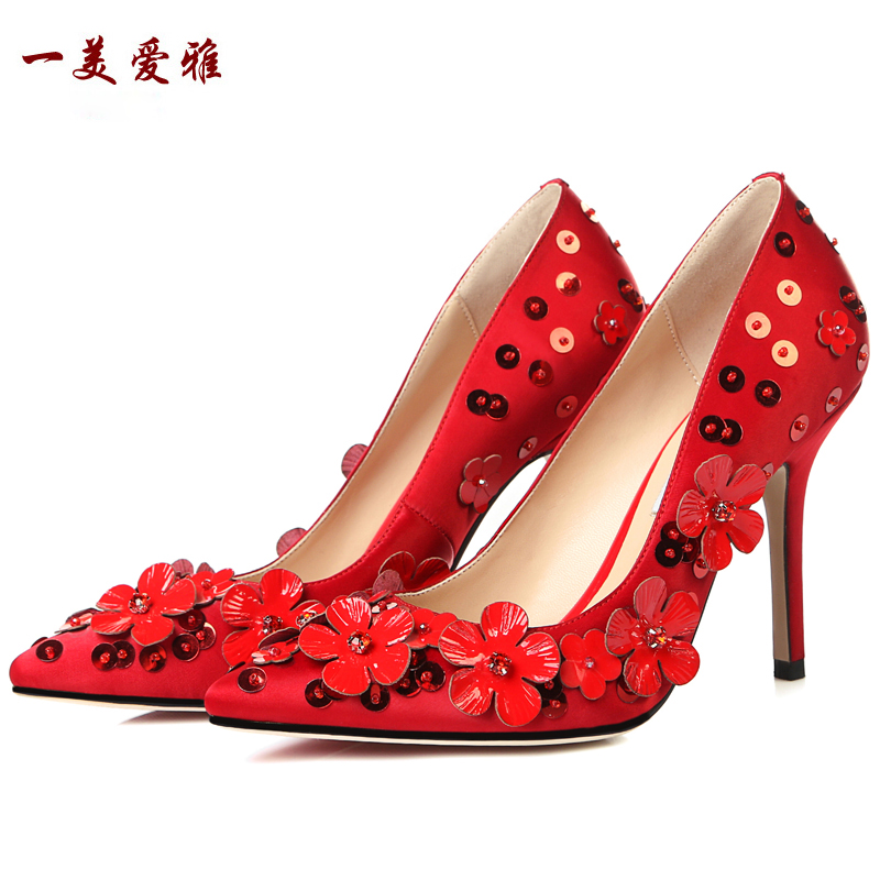 2016 new high quality elegant wedding thin heel shoes full grain leather pointed toe black red pointed toe women red pumps 169(China (Mainland))