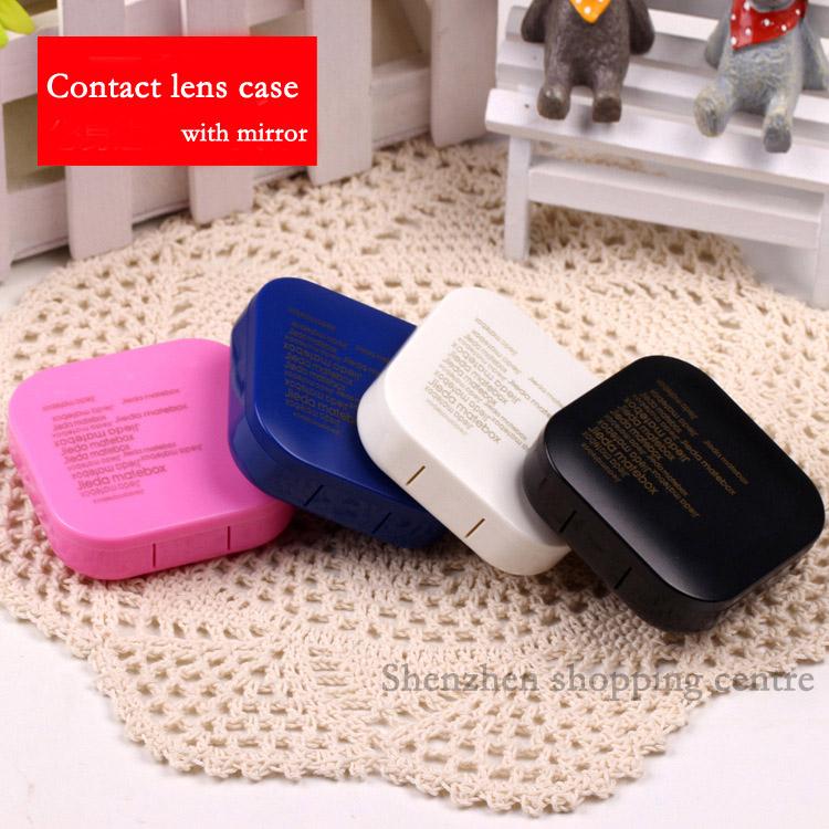 Hot square contact lens case for eyes plastic letter nursing lenses box  4 color