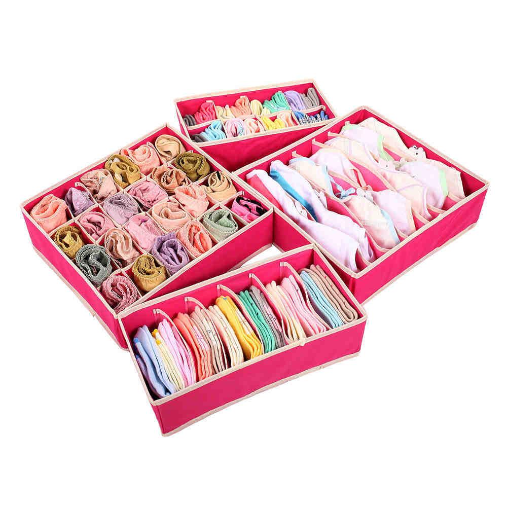 4PCS Storage Boxes For Ties Socks Shorts Bra Underwear Divider Drawer Lidded Closet Home Organizer ropa interior organizador(China (Mainland))