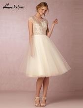 Elegant O-neck Short Sleeve Knee Length Wedding Dresses A-line Tulle Lace Short Reception Gowns robe de mariage Custom Made(China (Mainland))
