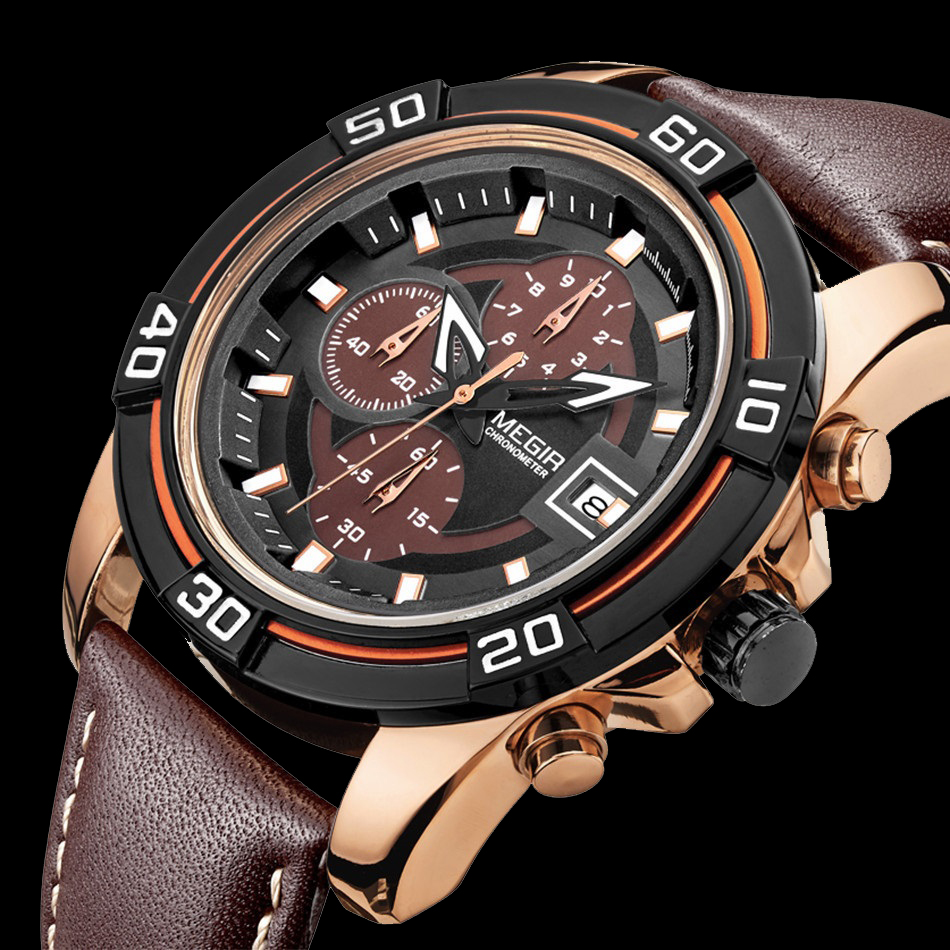 2016 MEGIR Brand Mens Quartz Watch Luxury Watches For Men Chronograph Luminous Clock Golden Case Brown Leather relogio masculino(China (Mainland))
